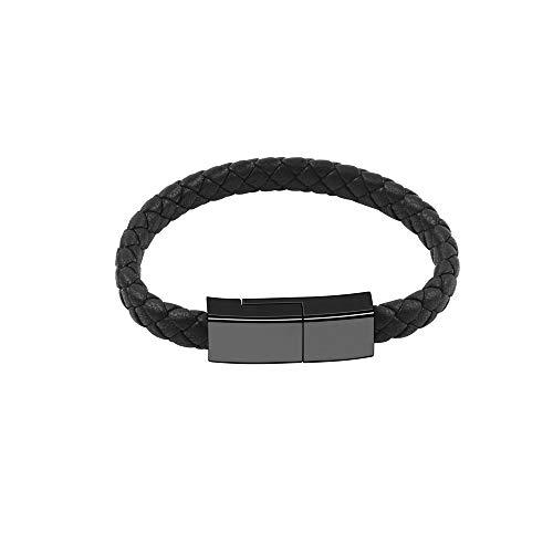 Outstanding Cable de Carga USB Tipo C Pulsera Neutral,Cargador de Teléfono USB C Corriente de 2,4 A, Diseño de Pulsera Cargador Pulsera de Cuero Cargador de Viaje Portátil, Cable Trenzado