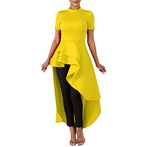 Annystore High Low Tops for Women - Ruffle Short Sleeve Bodycon Peplum Shirt Dresses Yellow