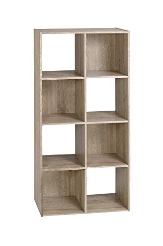 Alsapan Compo Meuble de Rangement 8 Casiers Bibliothèque Etagères Cubes Chêne 62 x 30 x 121 cm