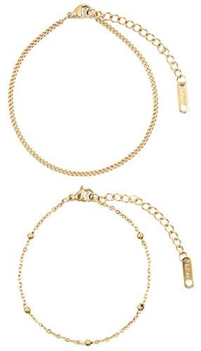 Happiness Boutique Damen Zarte Armbänder Vergoldet   Filigrane Armketten 2-er Set aus Edelstahl