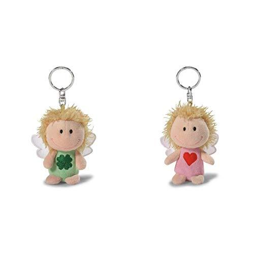 NICI 34553 - Schutzengel, Ich Bring dir Glück, Schlüsselanhänger, 7 cm, grün & 34554 Schutzengel Bin Immer bei dir, Schlüsselanhänger, 7 cm, rosa