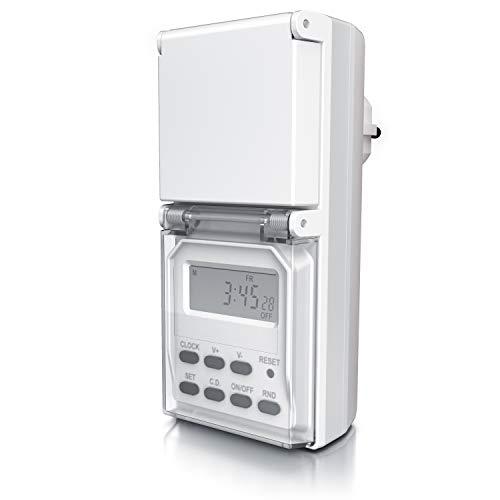 CSL - Digitale Zeitschaltuhr Outdoor – Zufallsfunktion – 20 Schaltprogramme – 16 Konfigurationen – Timer - manuelle Unterbrechung – IP44 – Countdown 99 Stunden – Berührungsschutz - weiß