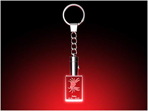 GLASFOTO.COM Schlüsselanhänger Sternzeichen Krebs LED-Leuchte Glaskristall - Kristallglas mit 3D Innengravur – 20 x 30 x 15 mm