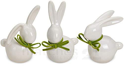 matches21 Hasen Deko-Figuren Oster-Dekoration Osterhasen weiß grüne Schleife 3er Set Keramik je 7-9 cm