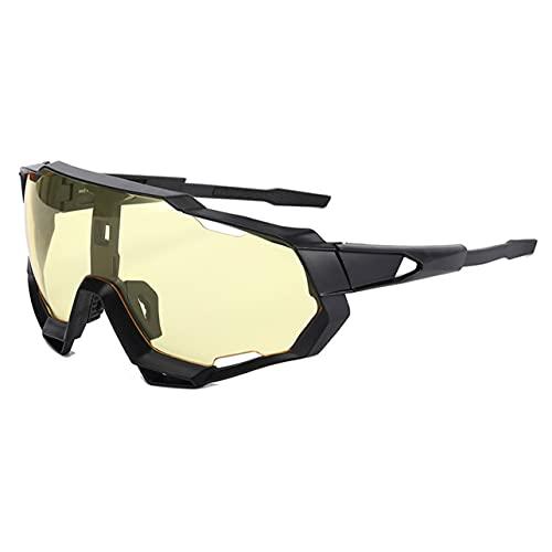 MARSPOWER Ergonomía Portátil para Hombre Gafas de Sol Coloridas Conexión Firme Guía física del Viento Antivaho Físico - Marco Negro Lente Amarilla