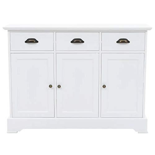 GOTOTOP Credenza in legno di pino e MDF con 3 ante e 3 cassetti, armadio ausiliario per corridoio, soggiorno, camera da letto, 105 x 35 x 77,5 cm, bianco