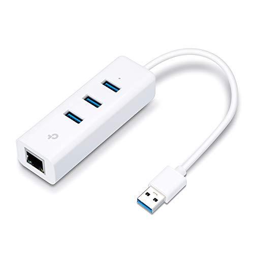 TP-Link Adaptador USB a Gigabit Ethernet, 4 en 1 Hub USB Adaptador Ethernet Gigabit con 3 USB 3.0 hasta 5Gbps + 1 Puerto Gigabit ideal para Xiaomi Mi Box S (UE330)