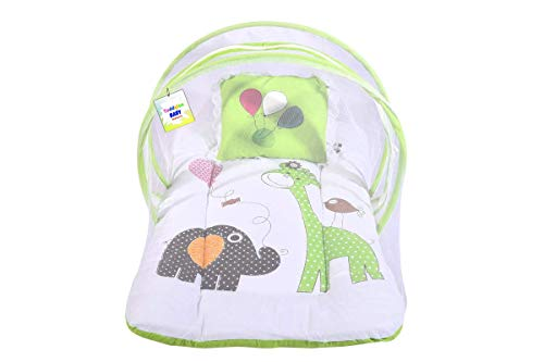 Toddylon New Born Baby Boy's & Baby Girl's Bedding Set Toddler Mattress with Mosquito Net (0-6 Months) Green