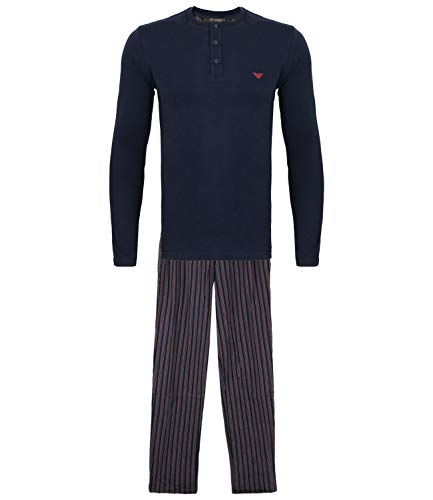 Emporio Armani Herren Schlafanzug Homewear Loungewear Pyjamas 9A567-111555, Farbe:Mehrfarbig, Größe:L, Artikel:-60635 Vertical Stripe/Ruby