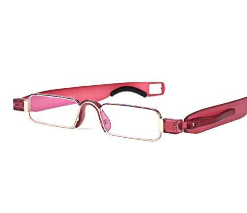QKDSA draagbare leesbril mannen vrouwen, transparante mini-prebyopie bril, ultralichte 360 graden rotatie, vrouwelijke bril +3.0X rood