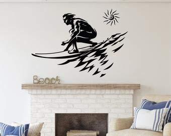 Vinilo adhesivo de pared para playa con diseño de surfista, arte acuático, tabla de surf, decoración de pared de la casa de la orilla para surf, regalos SA53