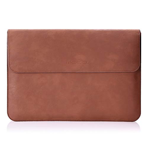 MoKo Tablet Sleeve Case Bag, PU Leather Protective Laptop Sleeve Compatible with Surface Pro X/Pro 7/Pro 6/ Pro 5/Pro 4/Pro 3/Pro 12.3/Pro LTE 12.3'/MacBook Air 11.6 Inch, with Pen Holder - BROWN
