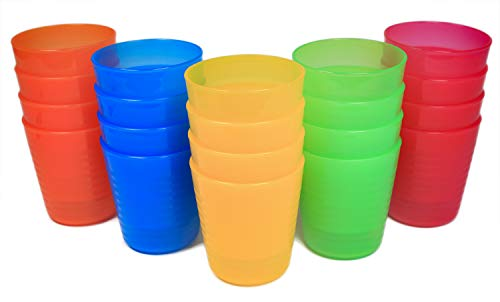 Honla Set of 20 Kids Juice Tumblers,8oz Unbreakable Small Plastic Cups in 5 Assorted Colors