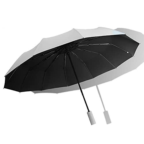 gris,Paraguas de viaje plegable a prueba de viento Se cierra automáticamente Se abre automáticamente Diseño liviano Paraguas compacto, fácil de transportar, asa antideslizante con 12 varillas