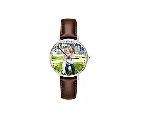 Reloj Personalizado Personalizado con Foto o Mensaje Grabado para Regalo Personalizado(marrón 1.42in (36 mm) -Mujeres)
