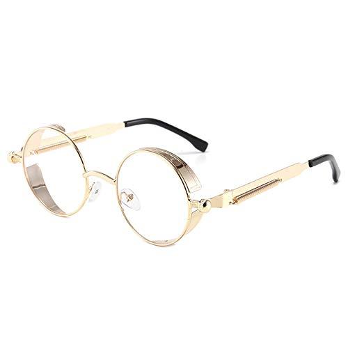 Vibner Gafas de Sol Gafas De Sol Clásicas Góticas Steampunk Circulares para Hombres Y Mujeres, Gafas De Sol Punk Redondas Retro para Hombre, Gafas De Sol De Moda con Montura Metálica, Gafas De Cond