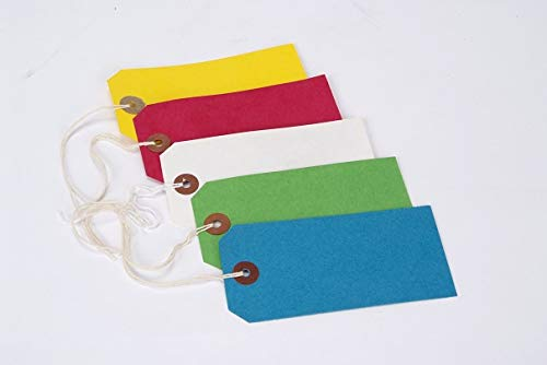 100 70mm x 35mm Blue Reinforced Stung Tags ST1 Tie On Luggage Labels 70x35