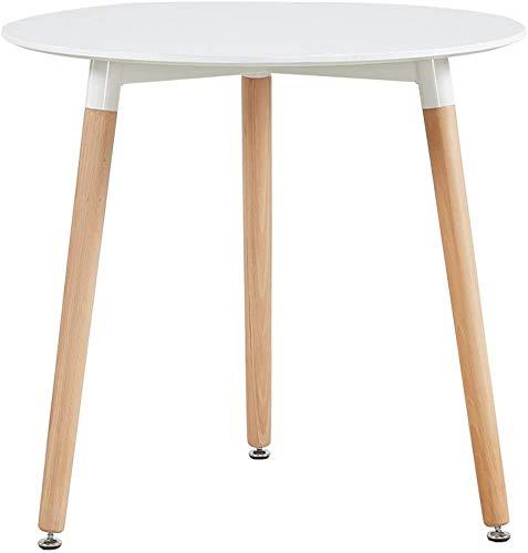 LOVEMYHOUSE Esstisch Weiß Rund Küchentisch Modern Büro Konferenztisch Kaffeetisch, Runder Esstisch Freizeit Holz Kaffee Tee Büro, Creme Weiß 100CM (80CM)