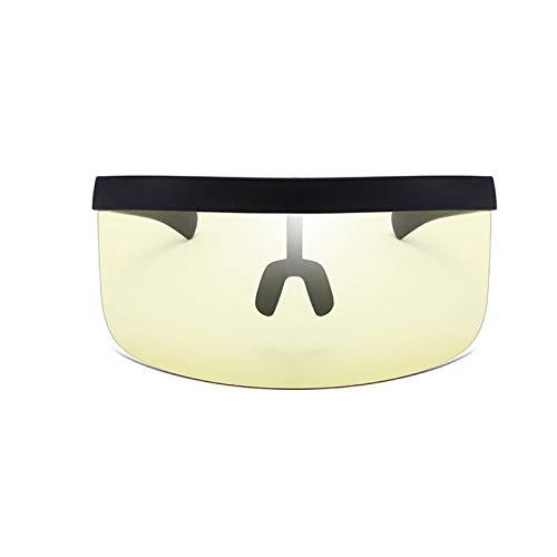 Gafas de Sol de Visera de Gran tamaño con Lente con Cobertura Lateral y Frontal para Mujer Hombre