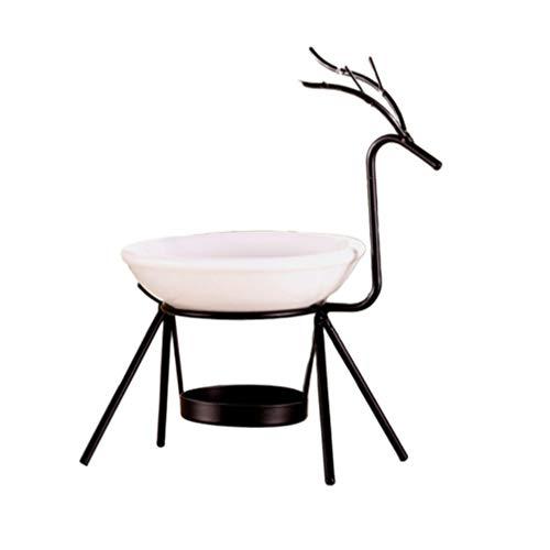 Supvox Queimador de incenso de cervo de ferro com placa de cerâmica, suporte de incenso apanhador de cinzas, decoração de mesa de escritório e casa (preto)