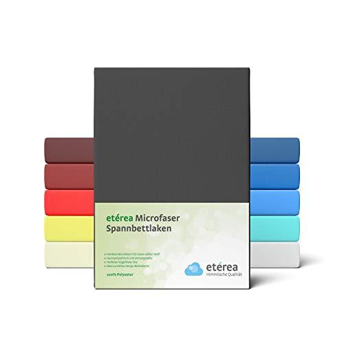 #5 Etérea Classic Microfaser Interlock Kinder-Spannbettlaken, Spannbetttuch, Bettlaken, 60x120 - 70x140 cm, Schwarz