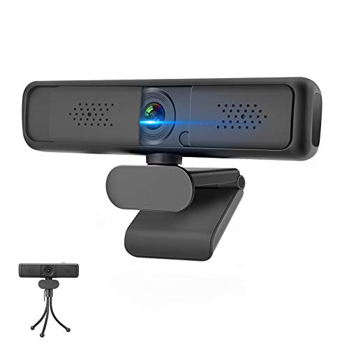 MECO Webcam PC con Micrófono, Webcam 2K Full HD Web Cámara con Tapa y Trípode para Ordenador/PC/Mac 1080P Webcam USB Plug & Play, Vista Gran Angular Webcam para Videollamadas, Conferencias,Windows 10