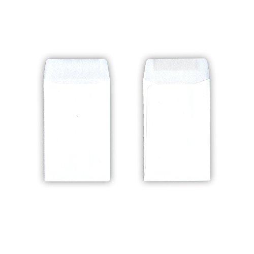 100 Stück - Kleine Papiertüten / Mini-Tütchen (weiß, 10 x 6,2 cm, nassklebender Verschluss)