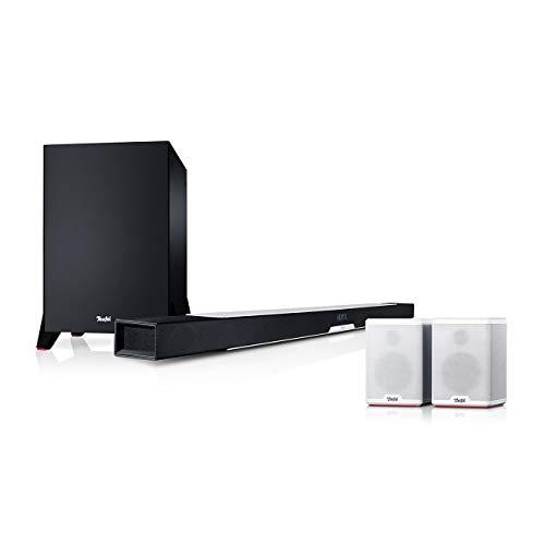 Teufel Cinebar Lux Surround Ambition 5.1-Set Weiß / Schwarz / Weiß Surround Soundbar Bluetooth Subwoofer Dynamore 3D Heimkino Musik