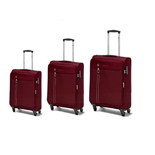 One Way - Juego de 3 maletas con ruedas redondeadas, ultraligeras, color rojo
