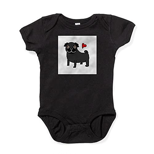 ABADI Body de bebé negro con amor de pug