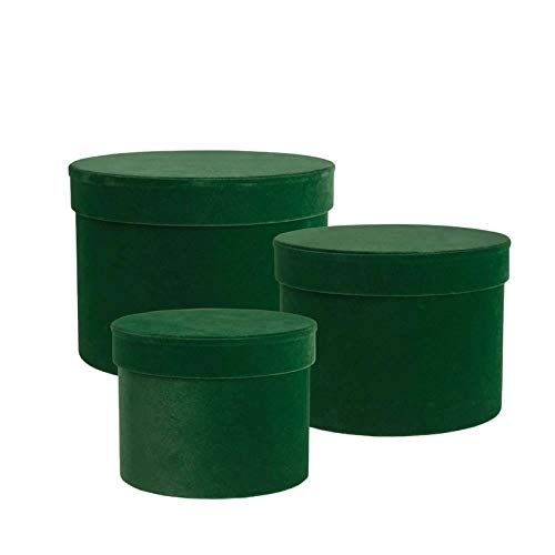Oasis Round Velour Hat Boxes - Dark Green - Set of 3 Lined - Christmas Floristry