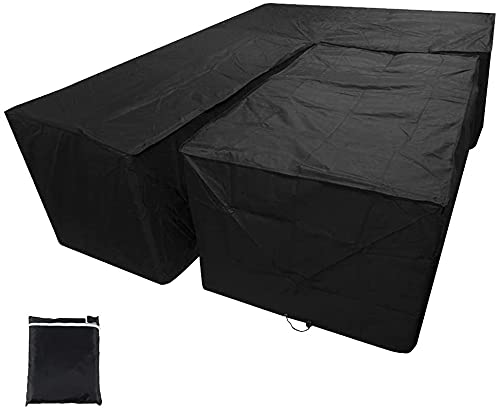 L Shaped Garden Furniture Covers Waterproof Heavy Duty 210D Dustproof Polyester Corner Sofa Couch Protector Cover with Storage Bag for Outdoor Patio Rattan Furniture(Black, 215X215X87CM&155x95x68cm)