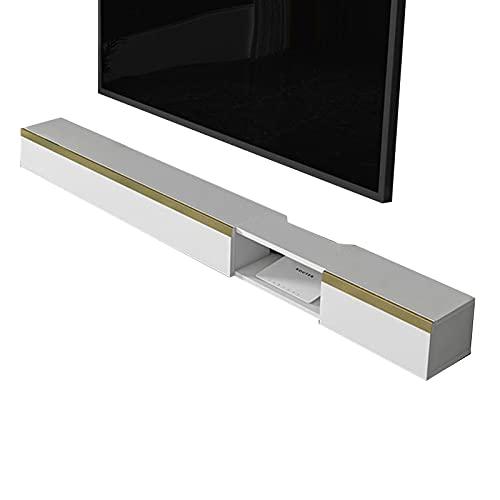 Mueble de TV, Mesa Flotante para TV, Consola Multimedia montada en la Pared, Soporte de TV versátil, Estructura Estable, Cables de administración Ocultos (Blanco/Gris)