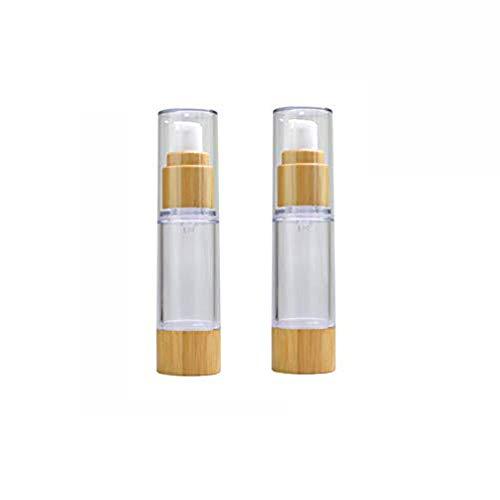 22PCS 30ml / 1oz Bomba de vacío sin aire plástica recargable vacía Botella de prensa Dispensador de loción con tapa de bambú Contenedor cosmético portátil Frasco Vial para esencia de emulsión