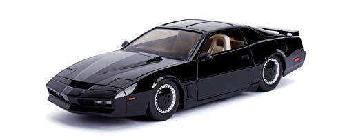 Jada Toys 253255000 Knight Rider K.I.T.T. - 1982 Pontiac Trans AM Modellauto, 1:24, mit Lauflicht, Detail-Innenraum, Türen und Motorhaube zum Öffnen, schwarz