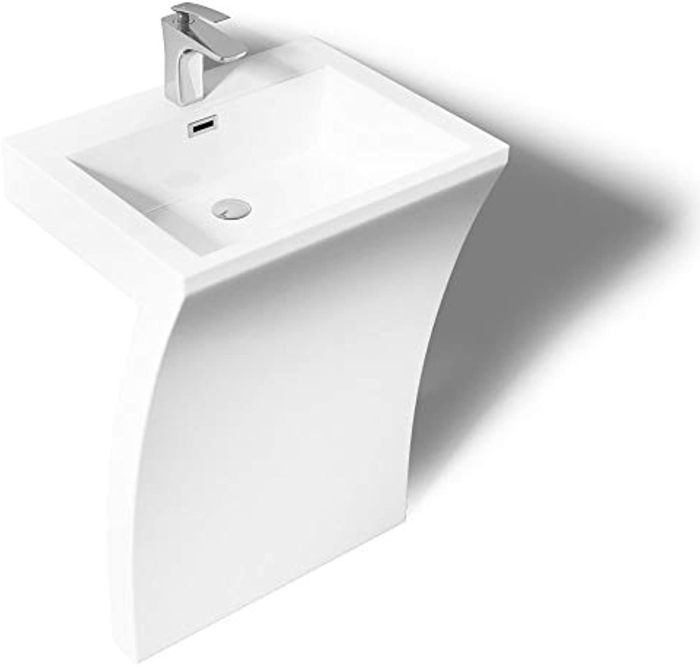 Sogood 58x48x84 cm Design Standwaschbecken Colossum07 aus Gussmarmor Waschtisch Waschplatz Standsule