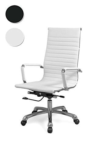 duehome Silla de Oficina, sillón Giratorio para despacho o Oficina, Medidas: 57x104x66cm, Boss (Blanco)