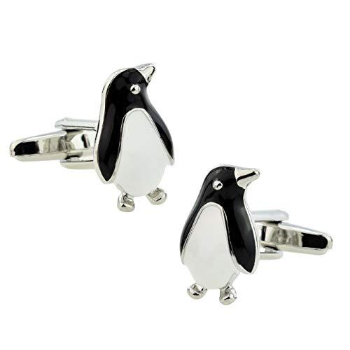 Manschettenknöpfe, Motiv: Ashton und Finch, Pinguin mit silbernen Augen