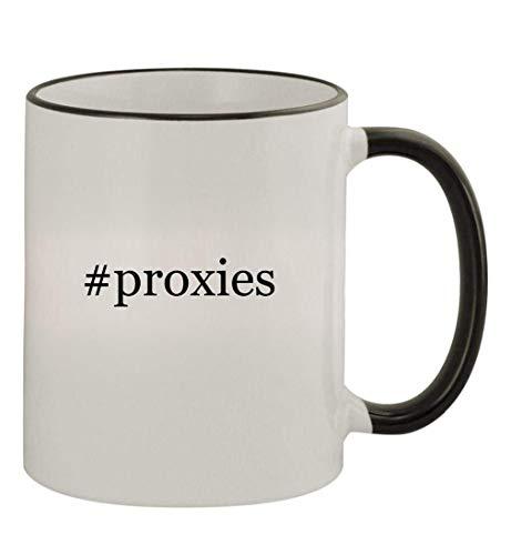 #proxies - 11oz Colored Handle and Rim Coffee Mug, Black