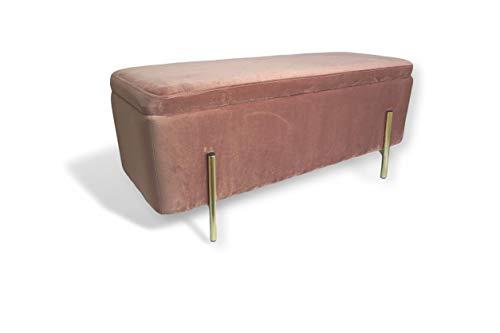 Avior Home Sitzbank mit Stauraum Schminkbank gepolsterte Truhenbank Schuhbank Aufbewahrungsbox Sitzwürfel Möbel Metallstütze (Pink, Rechteck)