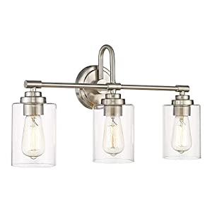 AKEZON 3-Light Bathroom Vanity Light Fixtures, Brushed Nickel Bathroom Lighting with Clear Glass Shade, KW-7220-3