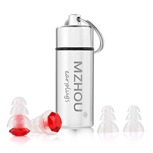 Mzhou Musik Gehörschutz Ohrstöpsel,23db Filterrauschen & für Konzert, Festival, Musik und Disco,mit Alubehälter, Rot/transparent