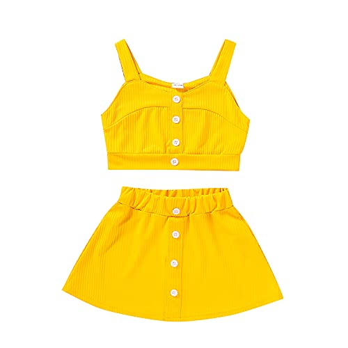 Baby Girl Outfits Strap Crop Tops Vest Buttons Elastic Short Skirts Solid Toddler Summer Clothes Set Yellow