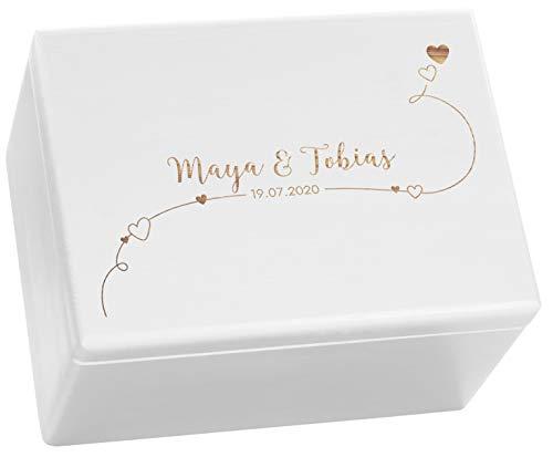 LAUBLUST Holzkiste Personalisiert zur Hochzeit - Erinnerungsbox mit Herz Gravur - ca. 40x30x24cm, Weiß   Serie: Willich