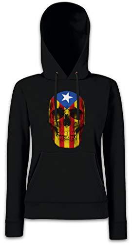 Urban Backwoods Catalonia Skull Flag Hoodie Sudadera con Capucha para Mujer Negro Talla XS