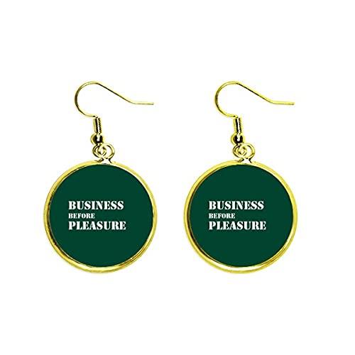 Business Before Pleasure Art Deco Regalo Moda Oído Cuelga Oro Gota Pendiente Joyería Mujer