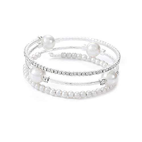 Yean Pulsera de perlas con cadena de mano de cristal plateado para mujeres y niñas