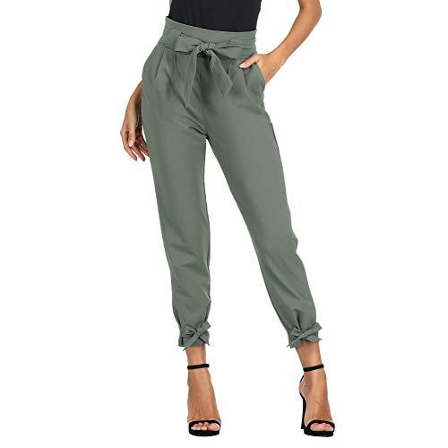 GRACE KARIN Damen Bleistifthose Hohe Taille 9/10 Elegant Carpi Hose Schleife Hose mit Taschen 2XL Hellgrün CL010903-12