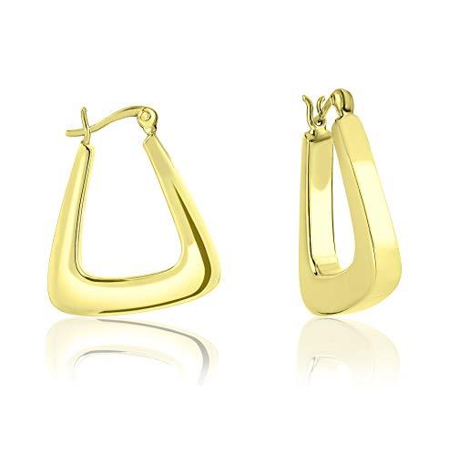 DTPsilver - Damen - Creolen Dreieckig - Ohrringe 925 Sterling Silber Gelb Vergoldet- Dicke 4 mm - Breite 22 mm - Länge 27 mm