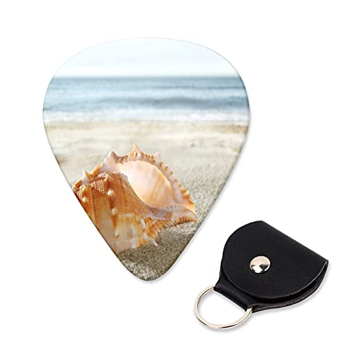 EILANNA Guitar Picks Shell on the sandy beach Trendy Guitar Plectrums for Your Electric,Acoustic,Ukulele,or Bass Guitar,Guitar Pick Grip 6pcs,3 Thickness(0.46,0.71,0.96mm)